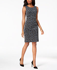 Kasper Jacquard Animal-Print Sheath Dress