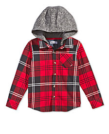 Epic Threads Little Boys Layered-Look Plaid Hoodie, Created for Macy's