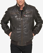 Levi s® Men s Faux-Leather Aviator Bomber Jacket with Fleece Lining a1748ef724