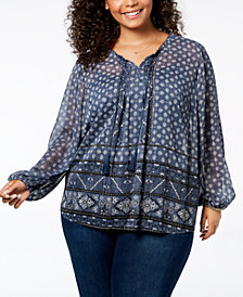 Style & Co Plus Size Mixed-Print Metallic Peasant Top, Created for Macy's