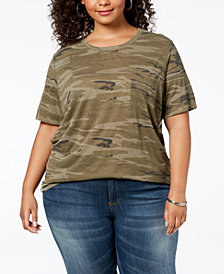 Hybrid Plus Size Camo-Print T-Shirt