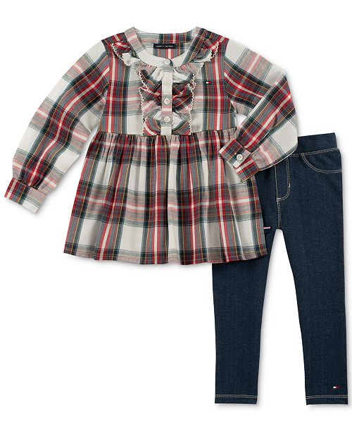 33fb468a93d276 Tommy Hilfiger Little Girls 2-Pc. Cotton Plaid Tunic and Denim ...