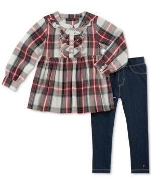 Tommy Hilfiger Little Girls 2Pc Cotton Plaid Tunic and Denim Leggings Set