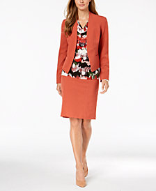 Nine West Open-Front Blazer, Printed Shell & Stretch Skirt
