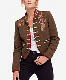 Free People Lauren Embroidered Cotton Band Jacket