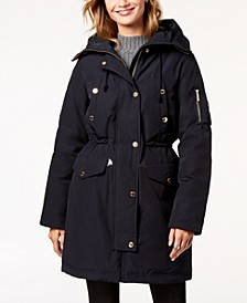 Faux-Fur-Trim Hooded Down Parka Coat
