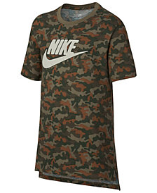 Nike Big Boys Drop-Tail Camo-Print Cotton T-Shirt