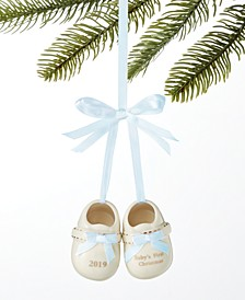 Baby's First Porcelain Blue Baby Shoes Ornament Created For Macy's
