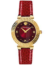 Versace Women's Swiss Daphnis Red Elaphe Leather Strap Watch 35mm
