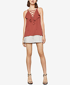 BCBGMAXAZRIA Ruffled Lace-Up Top