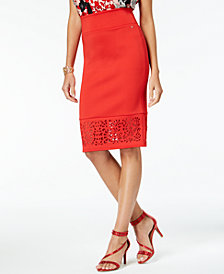 Thalia Sodi Perforated Pencil Skirt, Created for Macy's