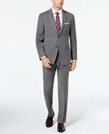 Tommy Hilfiger Men's Modern-Fit THFlex Stretch Gray/Blue Plaid Suit