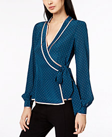 Nanette Lepore Silk Printed Wrap Blouse, Created for Macy's