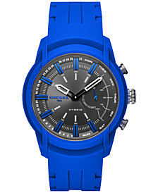 Diesel ON Men's Armbar Blue Silicone Strap Hybrid Smart Watch 44mm
