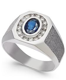 Men's Sapphire (1 ct. t.w.) & Diamond (3/8 ct. t.w.) Textured Ring in 14k White Gold
