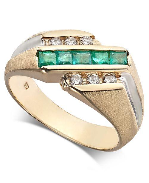 Macy's Men's Emerald (3/4 ct. t.w.) & Diamond (1/4 ct. t.w.) Ring in 14k Gold