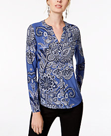 I.N.C. Printed Zipper-Trim Top, Created for Macy's