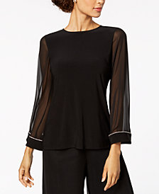 MSK Embellished Chiffon-Sleeve Top
