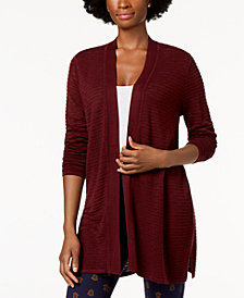 Charter Club Pointelle Ribbed-Knit Cardigan, Created for Macy's