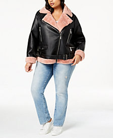 Jou Jou Juniors' Plus Size Faux-Fur-Lined Moto Jacket
