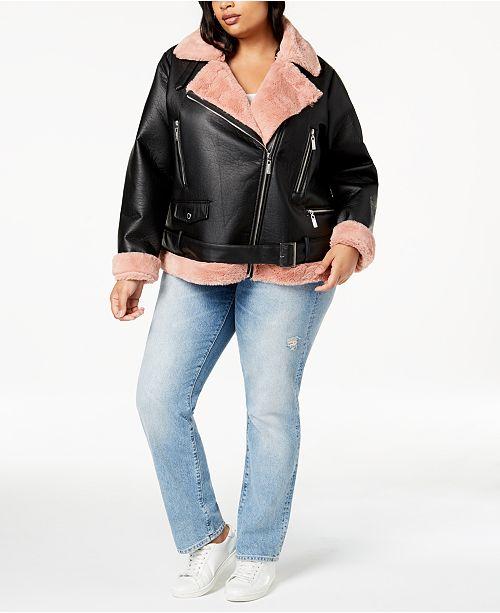 d770cd9b28a13 Jou Jou Juniors  Plus Size Faux-Fur-Lined Moto Jacket   Reviews ...