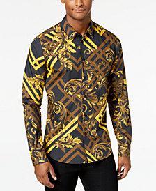 Versace Men's Gold-Printed Shirt