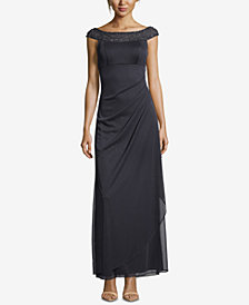 Xscape Petite Beaded & Ruched Gown