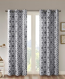"Intelligent Design Maci Fretwork 42"" x 63"" Room-Darkening Grommet Window Panel"