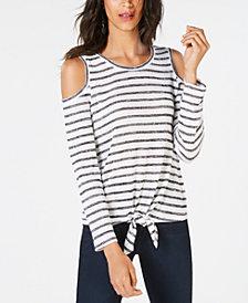 I.N.C. Shimmer-Stripe Tie-Hem Cold-Shoulder Top, Created for Macy's
