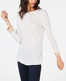I.N.C. Shimmer-Sleeve Long-Sleeve Top, Created for Macy's