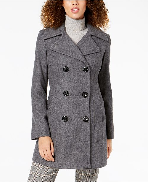 a47c30d6c40 Anne Klein Double-Breasted Peacoat   Reviews - Coats - Women - Macy s