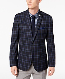 Men's Slim-Fit Dark Navy Plaid Sport Coat, Online Only