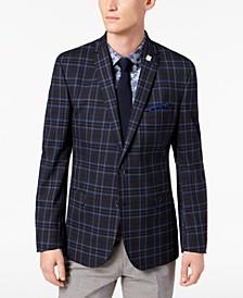 Men's Slim-Fit Dark Navy Plaid Sport Coat, Online Only