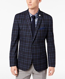 Nick Graham Men's Slim-Fit Dark Navy Plaid Sport Coat, Online Only