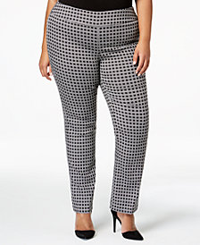 Alfani Plus Size Jacquard-Print Pull-On Trousers, Created for Macy's