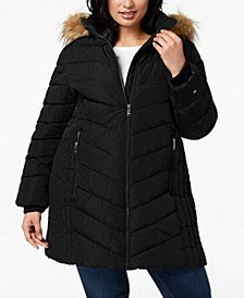 Plus Size Faux-Fur Trim Hooded Water-Resistant Puffer Coat, Created for Macy's