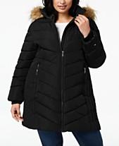 40809848f9d Tommy Hilfiger Plus Size Faux-Fur-Trim Hooded Puffer Coat