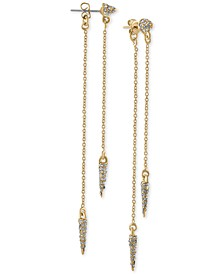 Gold-Tone Pavé Spike Front-and-Back Earrings