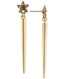 RACHEL Rachel Roy Gold-Tone Pavé Flower & Spike Linear Drop Earrings