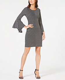 I.N.C. Striped Bell-Sleeve Tie-Back Dress, Created for Macy's