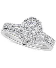 Diamond Cluster Bridal Set (3/4 ct. t.w.) in 14k White Gold