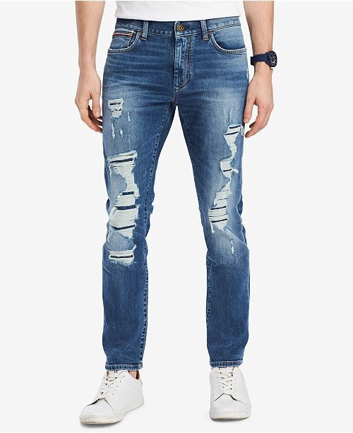 044b9ff7 Tommy Hilfiger Tommy Hilfiger Men's Straight-Fit Lucas Destroyed Jeans,  Created for Macy's ...