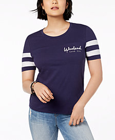 Rebellious One Juniors' Weekend Love Cotton Graphic T-Shirt
