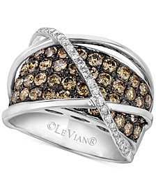 Le Vian Chocolatier® Diamond Crossover Statement Ring (2-3/4 ct. t.w.) in 14k White Gold