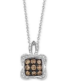 "Chocolatier® Diamond Square Cluster 18"" Pendant Necklace (1/2 ct. t.w.) in 14k White Gold"