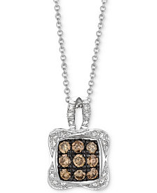 "Le Vian Chocolatier® Diamond Square Cluster 18"" Pendant Necklace (1/2 ct. t.w.) in 14k White Gold"