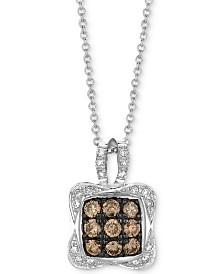 "Le Vian Chocolatier® Diamond Square Cluster 18"" Pendant Necklace (1/2 ct. t.w.) in 14k White Gold"