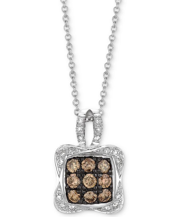 """Le Vian - Diamond Square Cluster 18"""" Pendant Necklace (1/2 ct. t.w.) in 14k White Gold"""