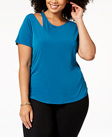 I.N.C. Plus Size Cutout T-Shirt, Created for Macy's