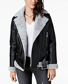 Jou Jou Juniors' Faux-Fur-Lined Moto Jacket
